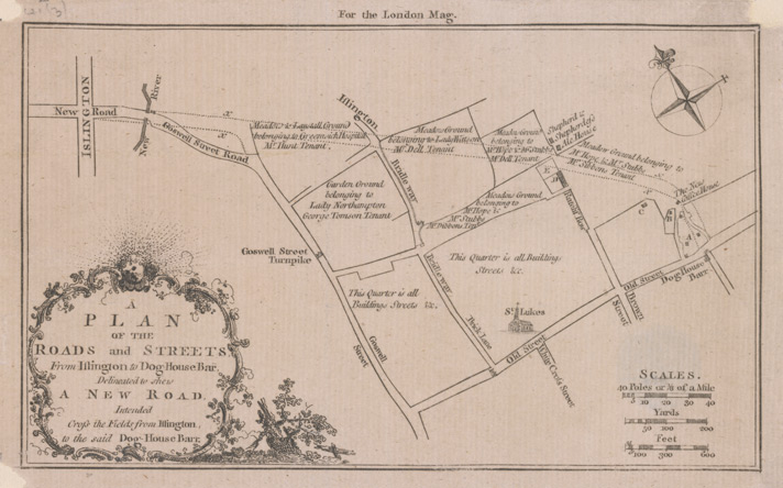 A plan of the roads and streets, from Islington to Dog House Bar, delineated to shew a New Road intended to cross the fields from Islington to the said Dog House Bar